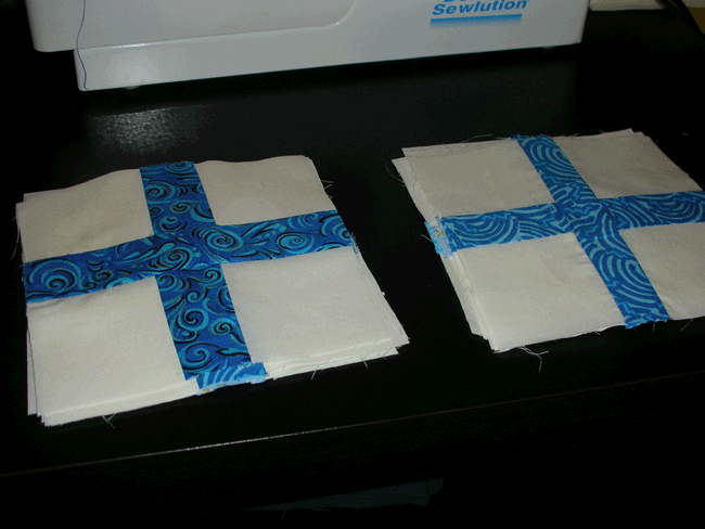Smallest two sets of pieced and pressed blocks for Simple Math