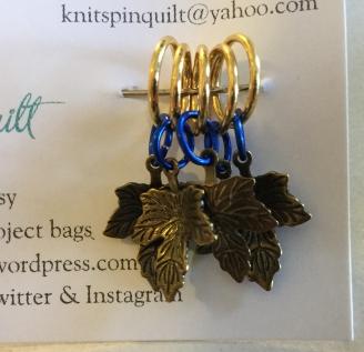 Oak leaf stitch markers blue