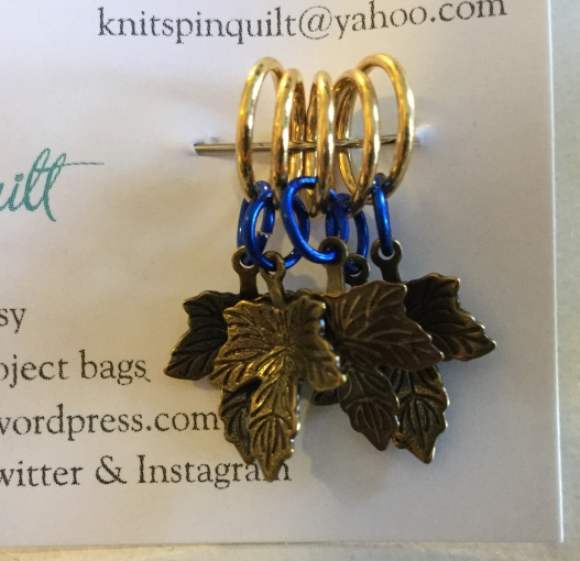 Oak leaf stitch markers blue