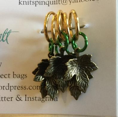 Oak leaf stitch markers green