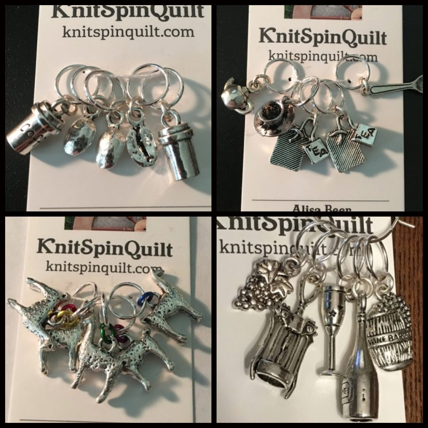 Four sets of knitting stitch markers featuring silver charms themed around tea, coffee, llamas, and wine