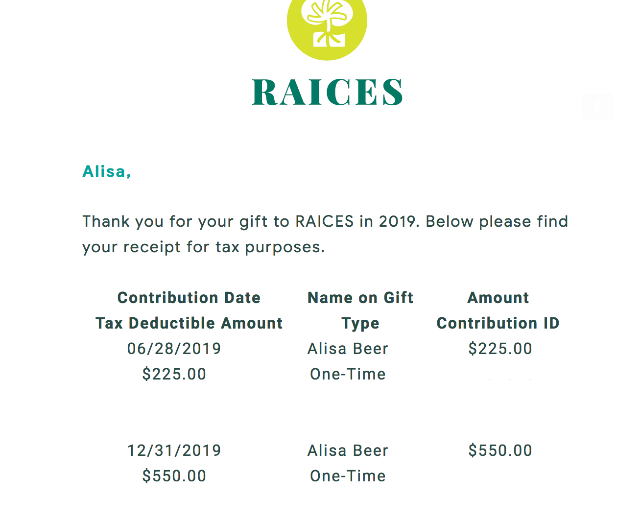 Screenshot from RAICES confirming a $27